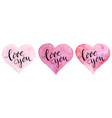 watercolor hearts with lettering for st vector image vector image