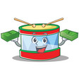 with money toy drum character cartoon vector image vector image