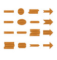 wooden sign and arrow icon set vector image vector image