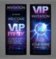 set of disco background banners vip party vector image