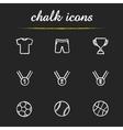 Sport equipment chalk icons set vector image