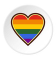 heart in lgbt color icon circle vector image