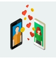 Long distance relationship vector image