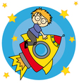 Child flying a spaceship vector image