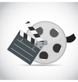 Abstract Cinema Clapper and Reel Flat Symbol Icon vector image