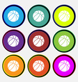 Basketball icon sign Nine multi colored round vector image