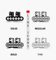 belt box conveyor factory line icon in thin vector image vector image