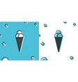 black ice cream in waffle cone icon isolated on vector image vector image