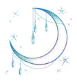 blue crescent moon with moonstone gem pendants vector image