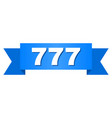 blue ribbon with 777 title vector image