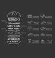 cafe menu on black chalkboard burger with vector image vector image