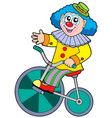 cartoon clown riding bicycle vector image vector image