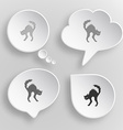 Cat White flat buttons on gray background vector image