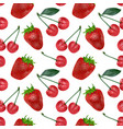 cherries and strawberries seamless pattern good vector image