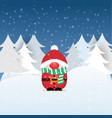 christmas festive postcard with a dwarf santa vector image