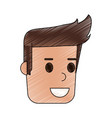 color pencil cartoon side view face guy with vector image vector image