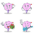 cotton candy character set with successful vector image vector image