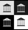 courthouse building icon isolated on black white vector image