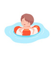 cute boy swimming with inflatable lifebuoy kids vector image vector image