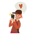 Cute funny flat cartoon boy with smart vector image