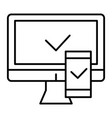 electronic devices with approval thin line icon vector image vector image