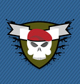 Emblem Military Skull beret with weapons vector image