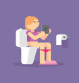 girl in toilet uses a tablet on blue background vector image vector image