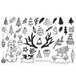 handdrawn christmas elements isolated vector image