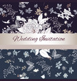 invitation card with floral background in vintage vector image vector image