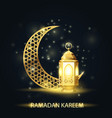 islamic crescent and lantern covered with arabic vector image vector image