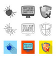 isolated object of virus and secure symbol vector image