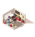 isometric low poly car service center icon vector image vector image