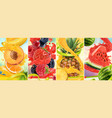 juicy and fresh fruit peach strawberry raspberry vector image vector image
