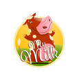 label of milk with funny brown cow vector image vector image
