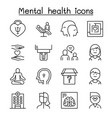 mental health psychology icon set in thin line vector image