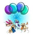 mice fly on balloons vector image