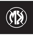 mk logo monogram with four part circle slash vector image vector image