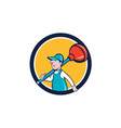 Plumber Carrying Plunger Walking Circle Cartoon vector image vector image