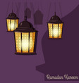 ramadan kareem greetings intricate arabic lamps vector image