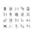 recognition biometric icons system set vector image