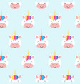 seamless pattern with rainbow unicorns blue vector image vector image