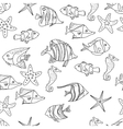 Seamless pattern with sea fishes Black and white vector image vector image