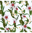 seamless pattern with tropical flowers and leaves vector image vector image