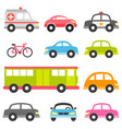 set different toy cars isolated on white vector image