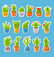 set of 16 cute cartoon cactus and succulents vector image vector image