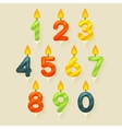 Set of colored glossy birthday cake candles vector image vector image