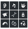 Set of Deafness Icons Ear sound sign vector image