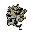 skull with a snake and vintage leaves vector image vector image