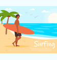 sportsman on sandy island coast with surfboard vector image