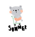 summer bear vector image